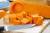 'Waltham Butternut' winter squash are the oblong, tan squash you see in farmers markets in the fall.  They have small seed cavities and dense flesh and are great baked, roasted, or mixed into soups or stews.