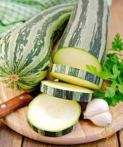 'Caserta' is a beautiful heirloom zucchini, greenish-grey with darker green streaks and dense, creamy flesh.
